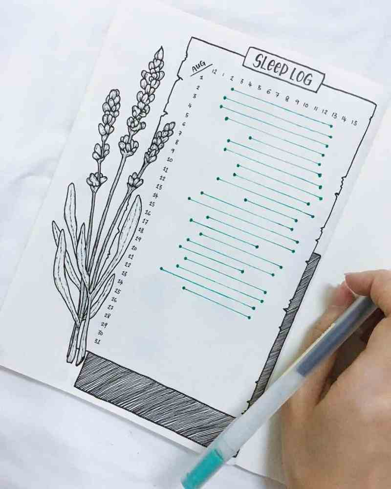 Bullet journal trackers and collections. Bullet journal monthly sleep log.