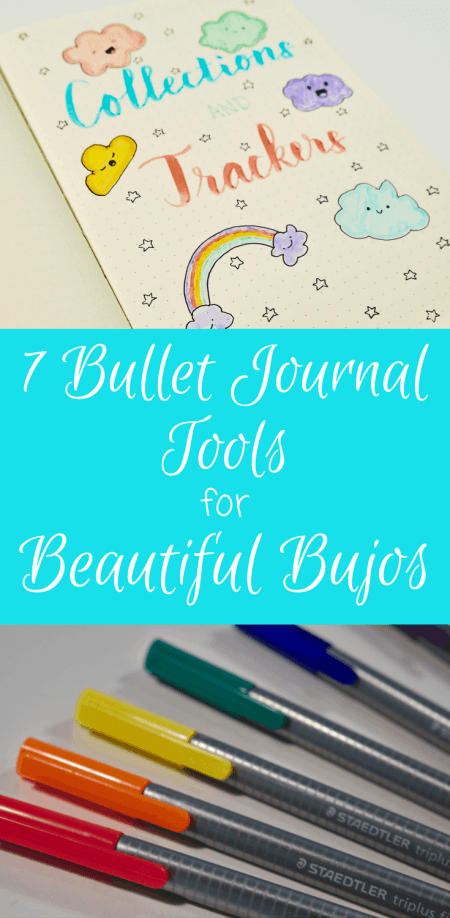 7 Fantastic Bullet Journal Tools that will help make your bullet journal extra beautiful! These tools have helped my bullet journal thrive, have helped me maintain organization in my bullet journal over the last year. Great reference guide for people who want to know how to start a bullet journal. Recommends supplies such as notebooks and pens. Also includes some inspirational sources to make your bujo successful!