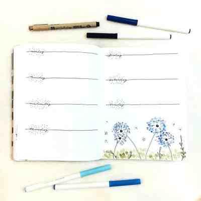Blue dandelion theme bullet journal weekly layout