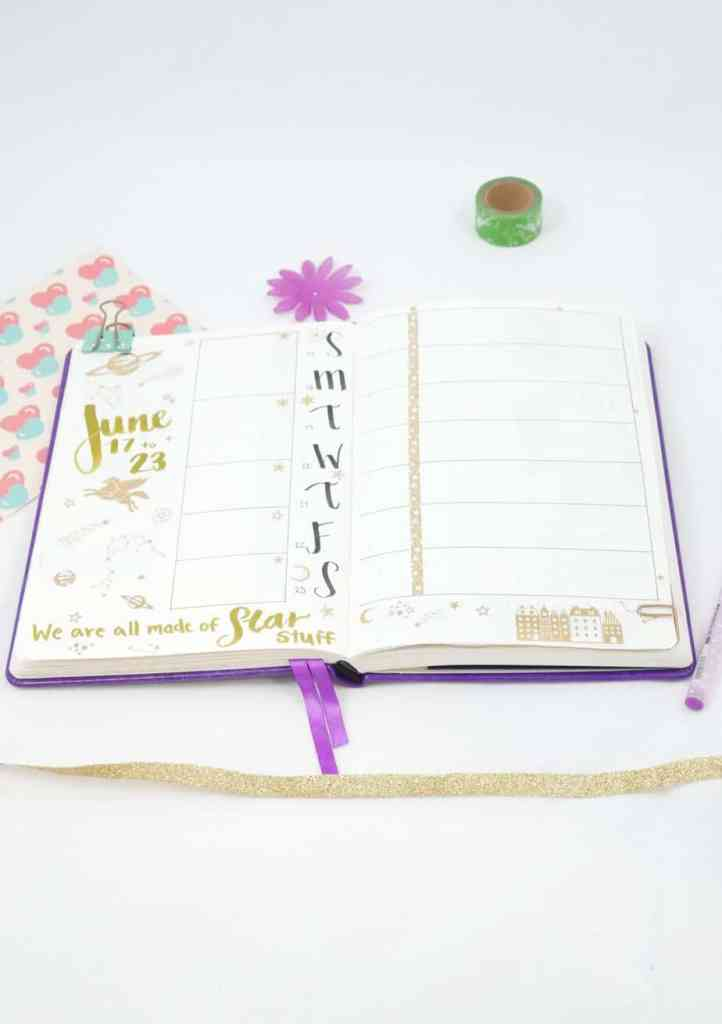 Plan with Me June 2018! Are you ready to start off the first month of summer in your bullet journal? Get terrific bullet journal ideas and layouts, stunning galaxy doodles and watercolor art, and other great inspiration to decorate your bujo. Even find out which bullet journal supplies I used! Bullet journal setup for June.