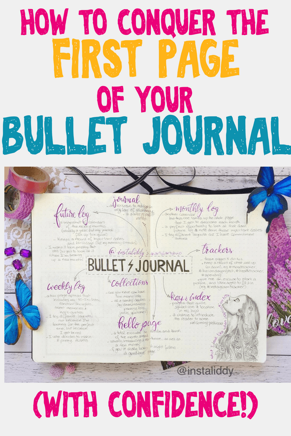 How to conquer the first page of your bullet journal with confidence. Bullet journal setup help for your very first layouts. Get lots of inspiration for your bullet journal so you feel comfortable setting up your first spreads. Bullet journal ideas and tips for a great setup. #bulletjournal #bulletjournallove #showmeyourplanner #bulletjournallayouts