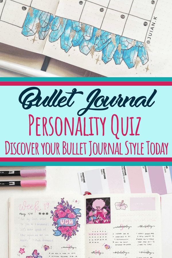 What's your bullet journal style? Find out by taking the bullet journal quiz and learn your bujo personality right away! Connect with other people who share your style, as well as blog posts you'll enjoy and stationery supplies you need. #bulletjournal #personalityquiz #bujo