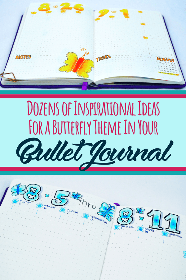 How to make a fun butterfly theme in your bullet journal. Perfect for any bujo style! Get great bullet journal inspiration and setup ideas for your next bullet journal layout. Beautiful planner doodles and bullet journal art you have to try next month. #bulletjournal #butterflies #art #diyplanner #bujo
