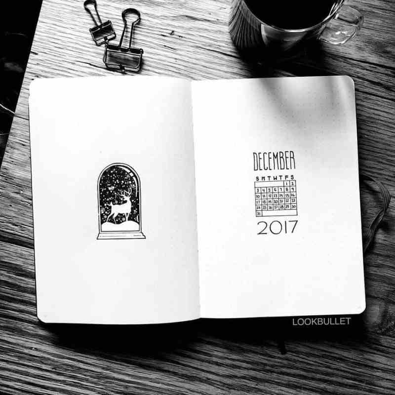 Snow scene by @lookbullet I cannot get enough of this cute, minimalist snow globe cover page. It's beautiful and intricate, but not complicated or challenging to recreate. A truly perfect idea for any winter cover page spread.