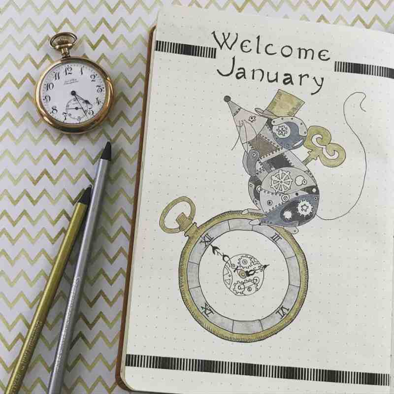 Unique cover page by @journal.me.pretty This amazingly unique spread is perfect for the New Year, featuring funky steampunk themes. I think the clock is amazing for the New Year, too! #bulletjournal