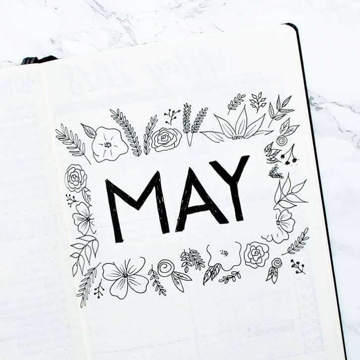 Beautiful, minimalist floral cover page by @jennys.notes. Great bullet journal ideas and inspiration.