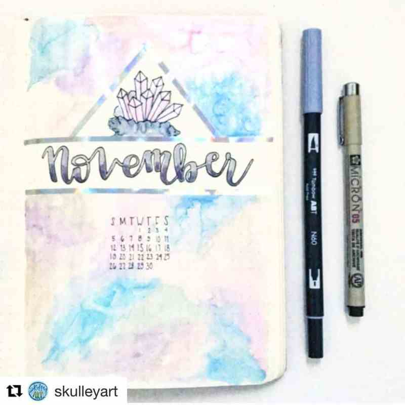 Love this look on this cover page by @skulleyart Another great gem-themed spread from my friend Sarah. The coloring is reminiscent of a subtle gradient you'd find on gems, too. #bulletjournal