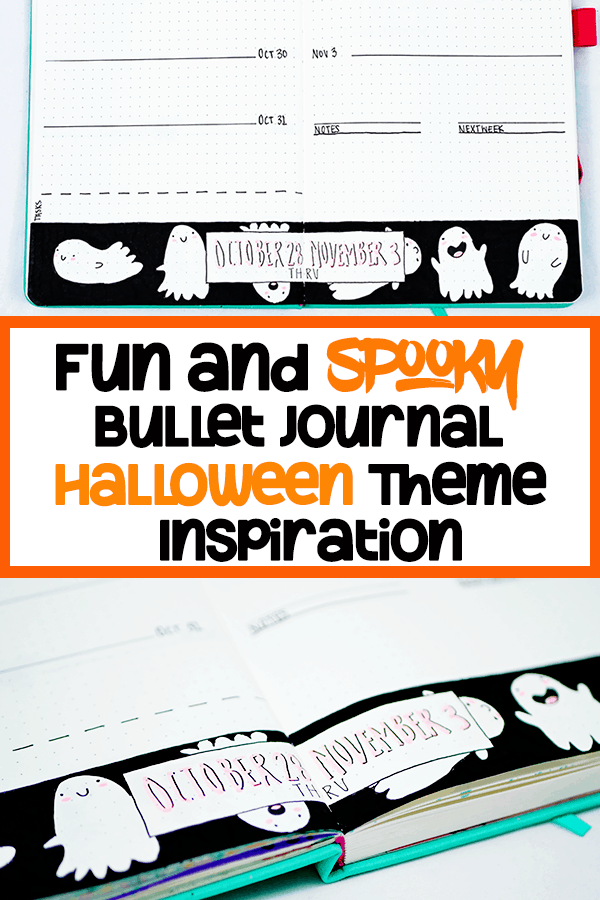 Fun and spooky bullet journal halloween theme inspiration pin with orange border and orange and black letters