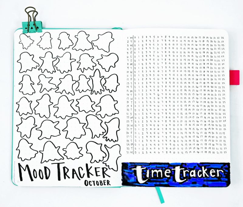 Bullet journal ghost mood tracker and time tracker