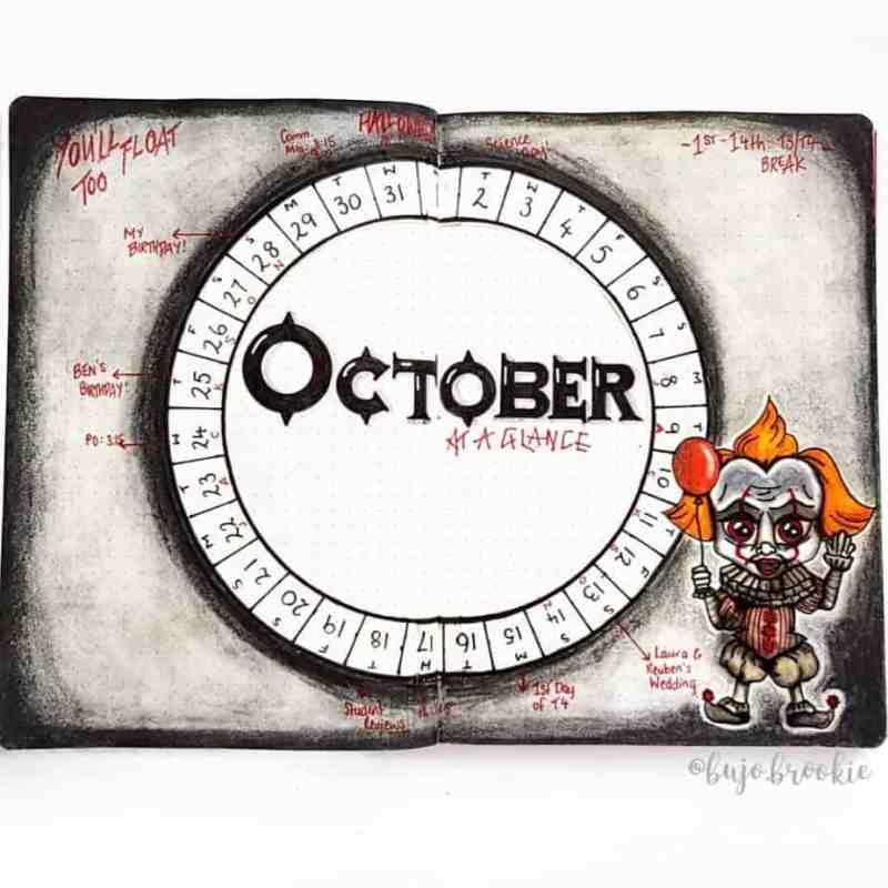 Bullet journal monthly calendar with chucky theme