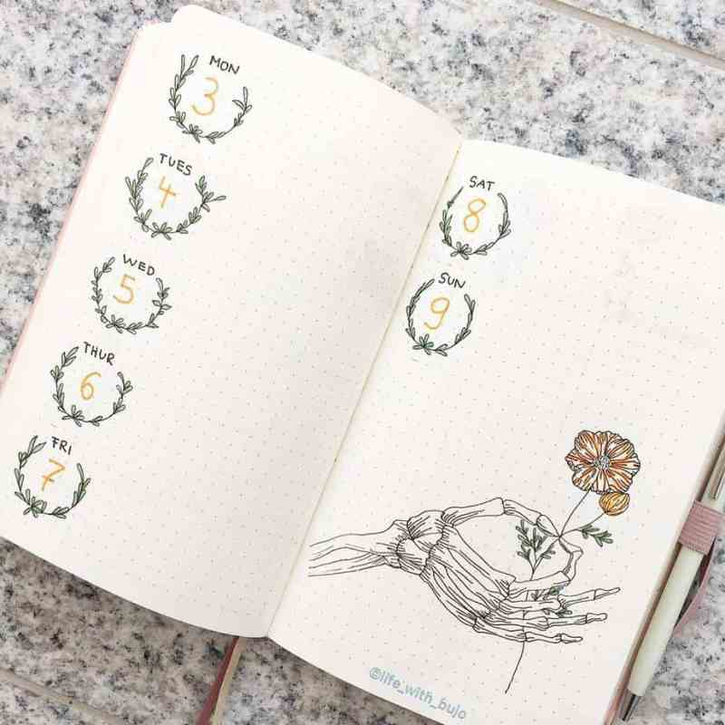 Bullet journal weekly spread with skeleton hand holding a flower doodle
