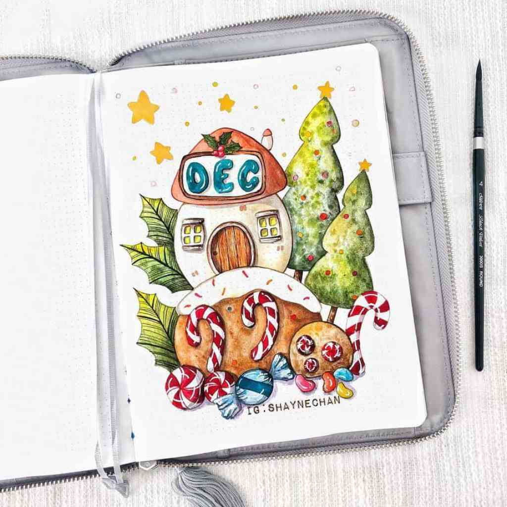 Stunning and adorable art from shaynechan for Bullet Journal holiday theme for December cover page