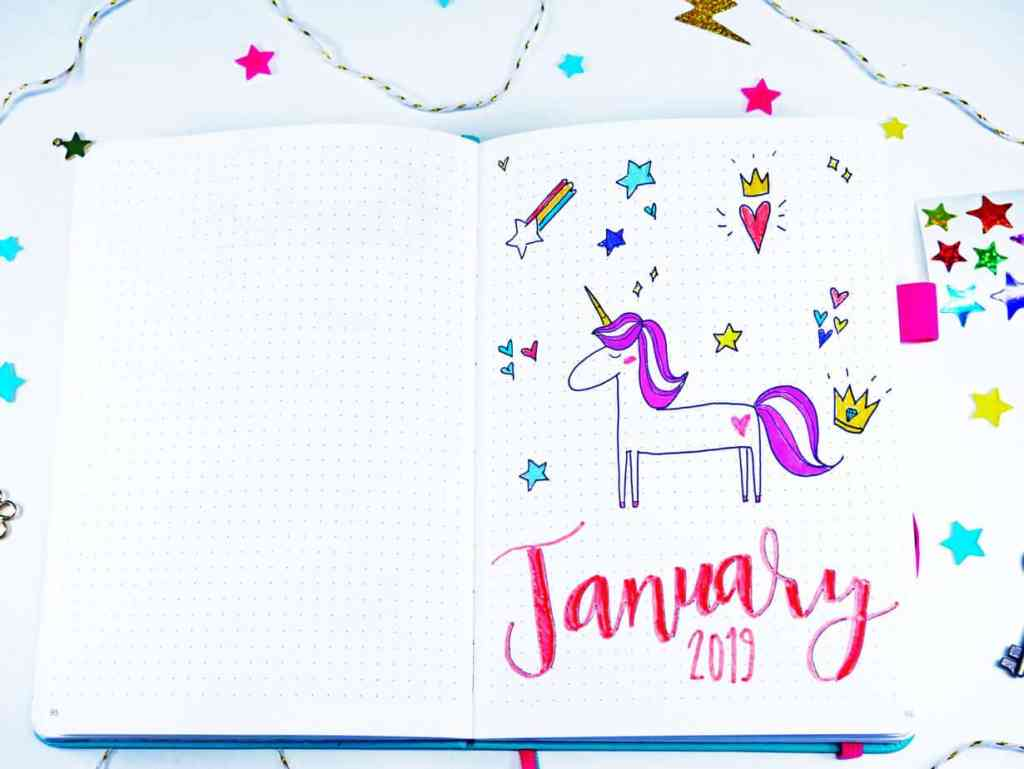 Bullet journal cover page with unicorn theme