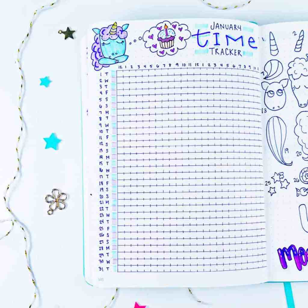Bullet journal time tracker with unicorn doodle