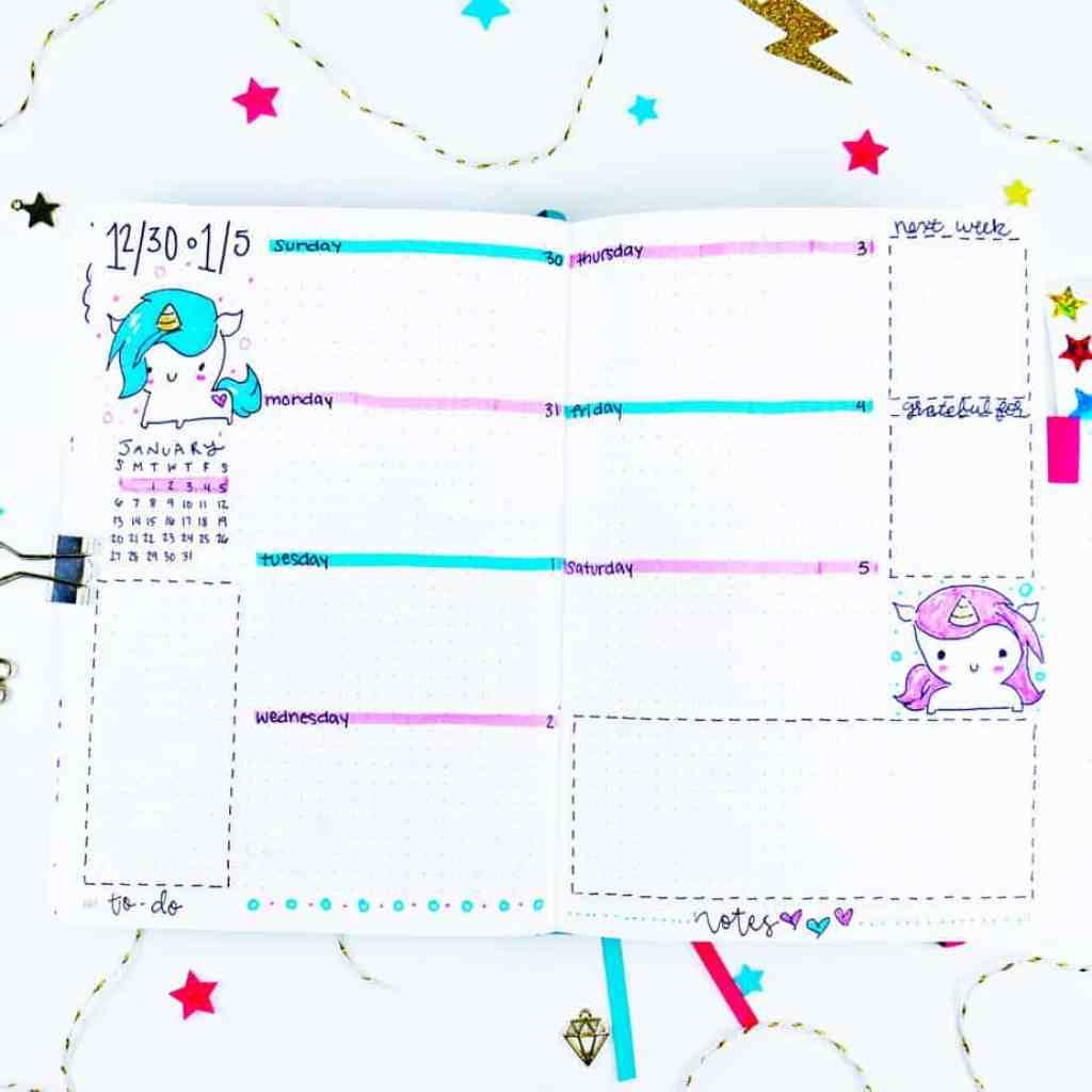 Chibi unicorn bullet journal theme weekly layout