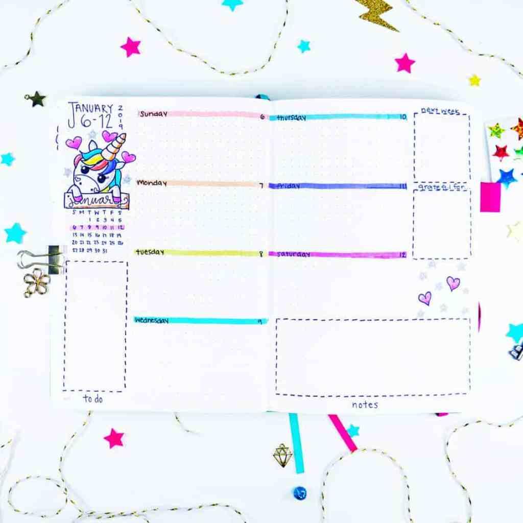 Cutesy and sad unicorn bullet journal weekly layout