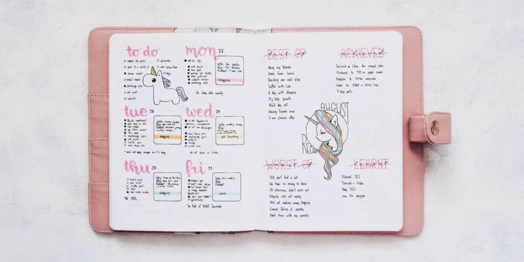 Unicorn weekly layout for bullet journal