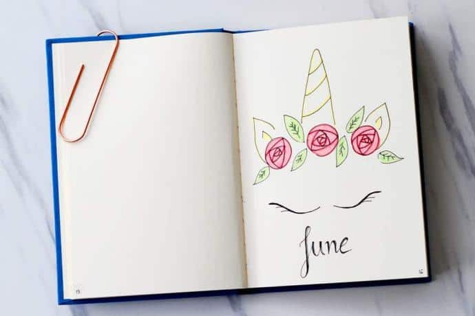 Unicorn and flower bullet journal cover page