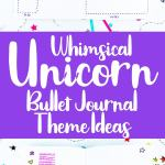 Purple whimsical unicorn bullet journal theme ideas Pinterest pin