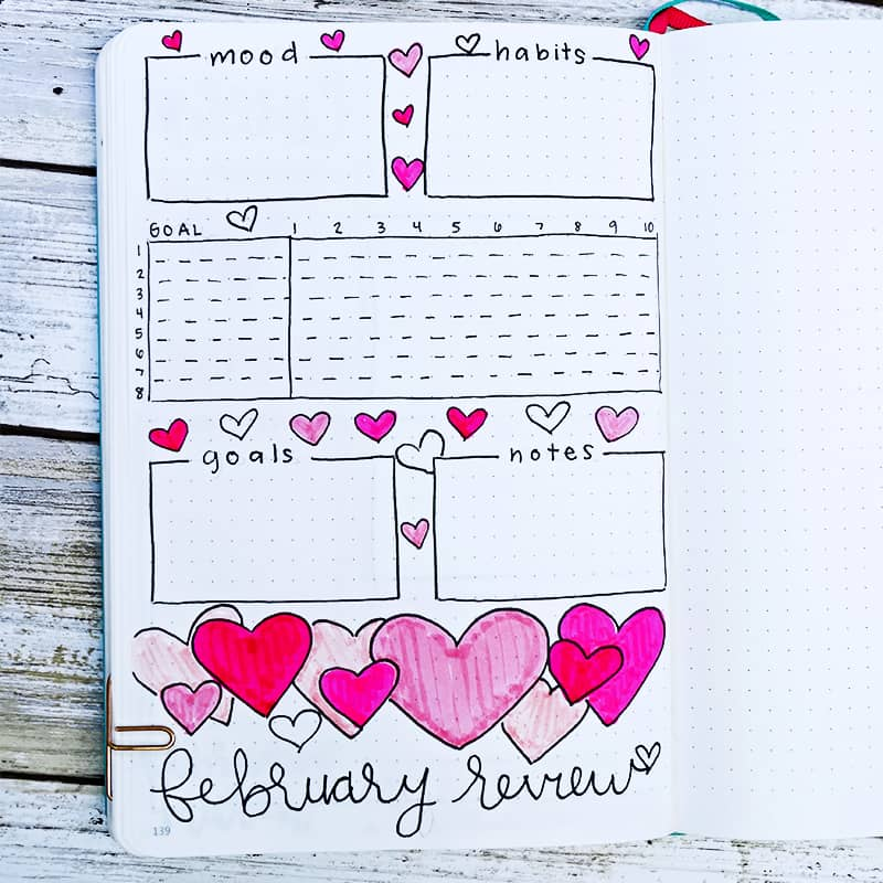 Monthly review for February with heart drawings and doodles