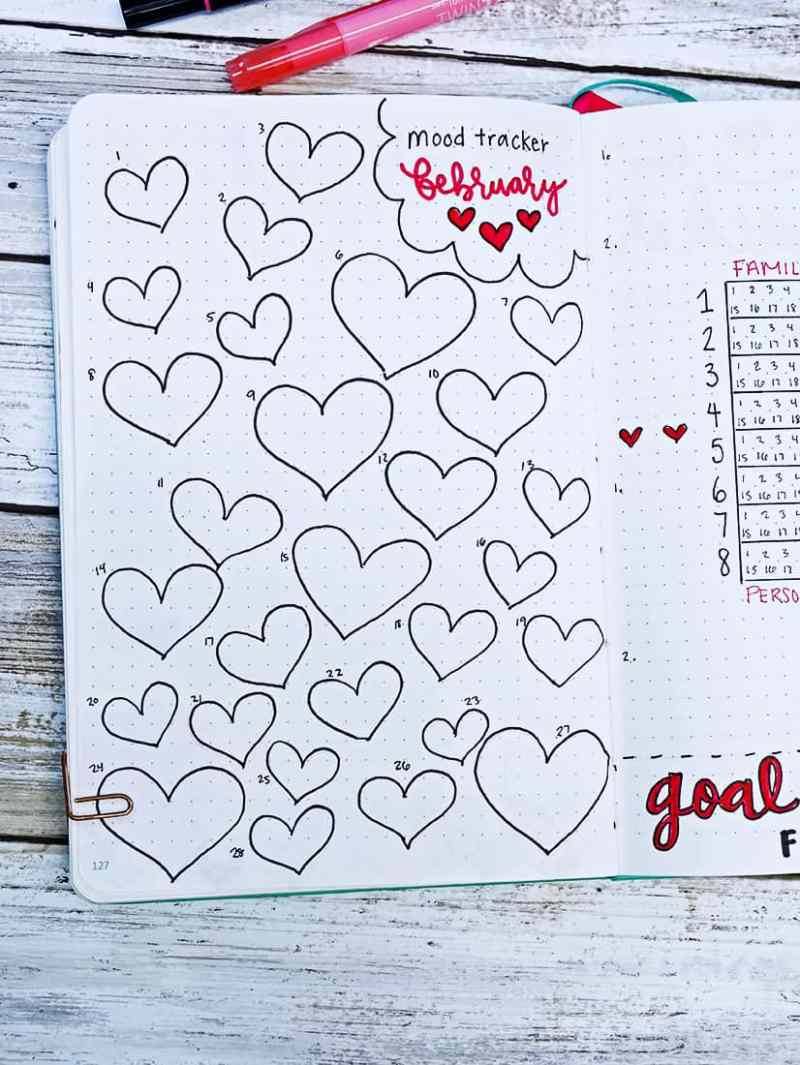 Bullet journal heart doodle mood tracker for February
