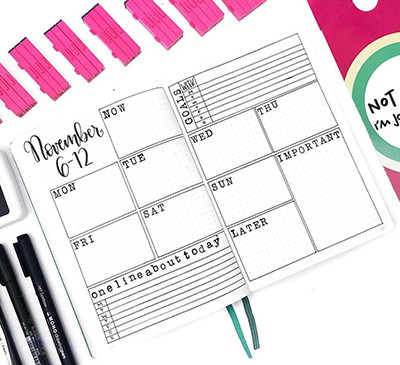 Font stamps in a bullet journal weekly layout