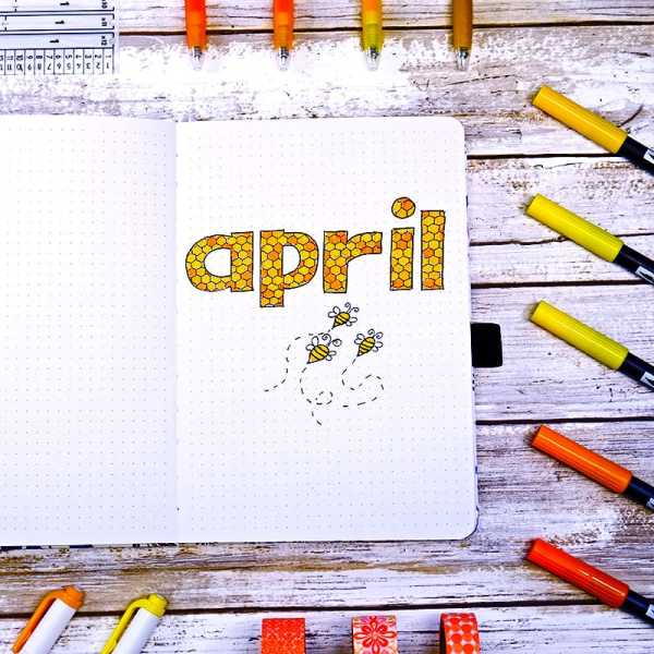 Bee theme bullet journal spread for April