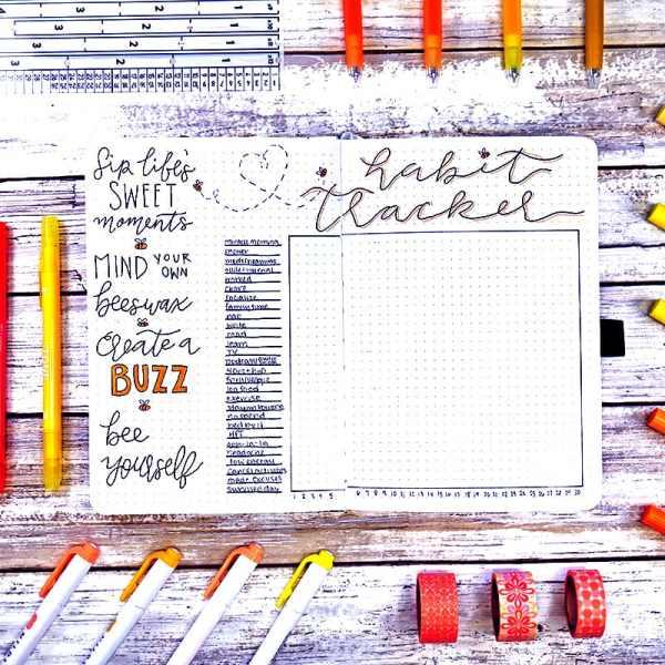 Bee theme habit tracker bullet journal