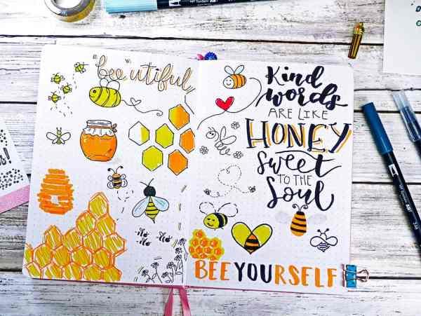 Bee doodle ideas for bullet journals