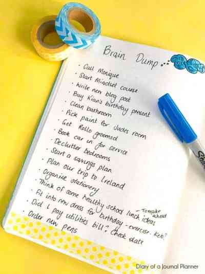 Brain dump layout for organizing your home inspiration
