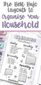 Bullet journal layouts and spreads for household management
