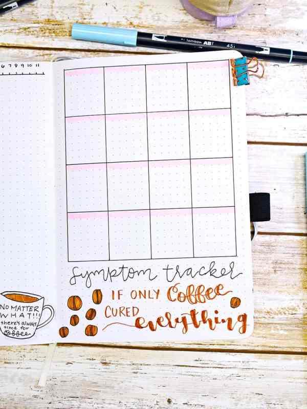 bullet journal symptom tracker coffee beans