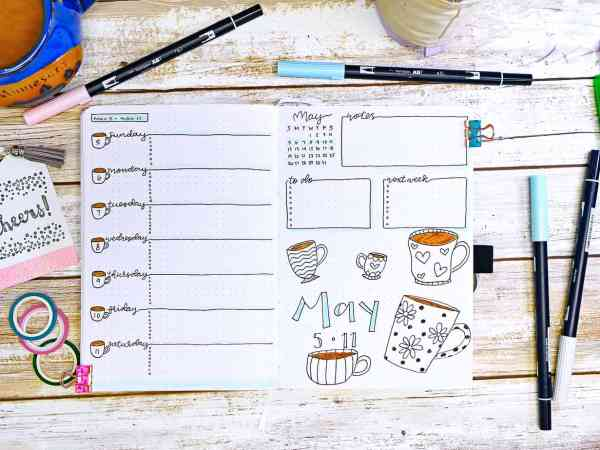 May weekly bullet journal coffee cups