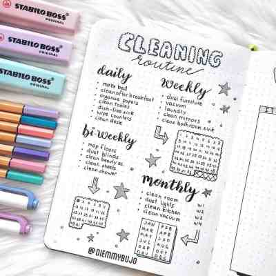 bullet journal cleaning journal layout