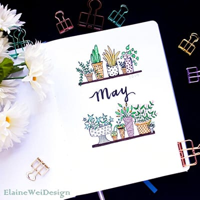 Cover page for May with plant theme.