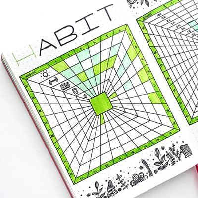 Geometric habit tracker with plant doodles.