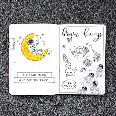 Doodle braindump bujo layout idea