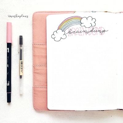 Brain doodle in a bullet journal braindump spread
