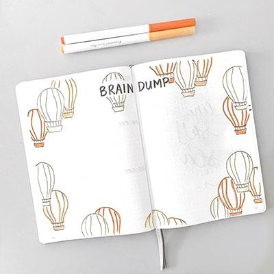 Mind dump balloon theme spread
