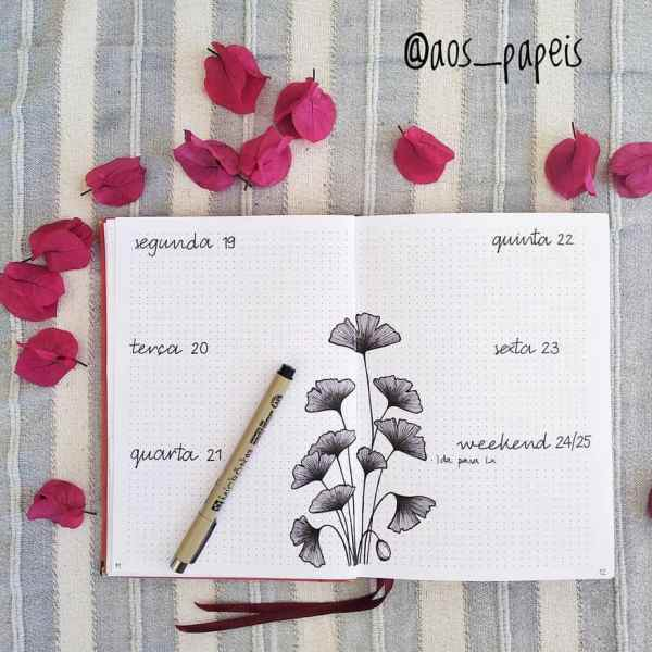 Minimalist bullet journal layout with petal flowers