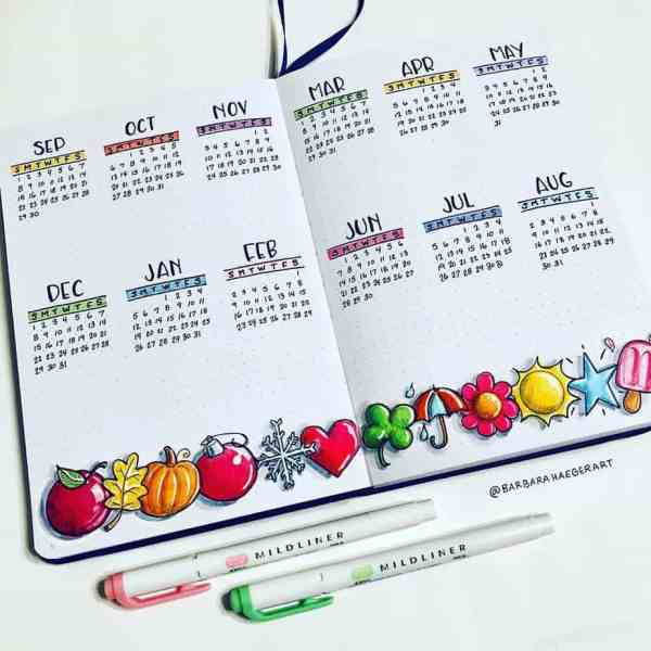 Bullet journal benefits calendar review page