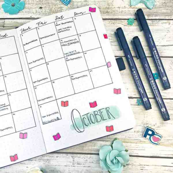 Bullet journal monthly with tombow mono drawing pens