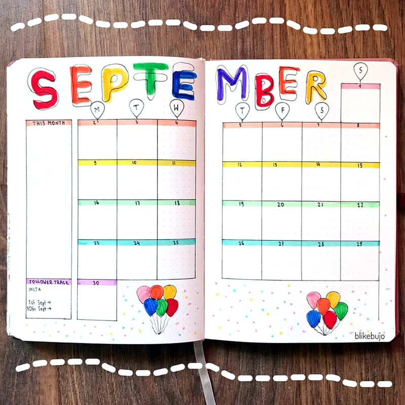 Bullet journal monthly theme balloons