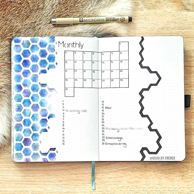 blue honeycomb bullet journal theme
