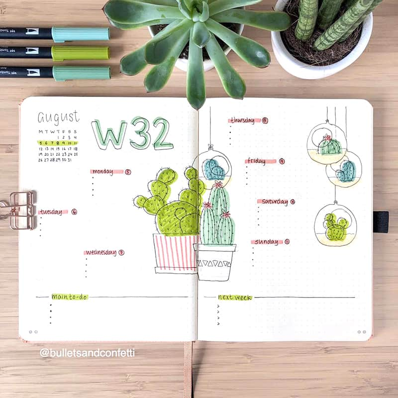 Cactus weekly spread bullet journal