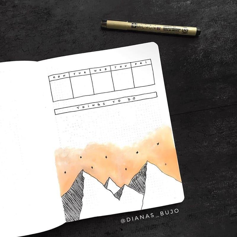 Mountain theme bullet journaling