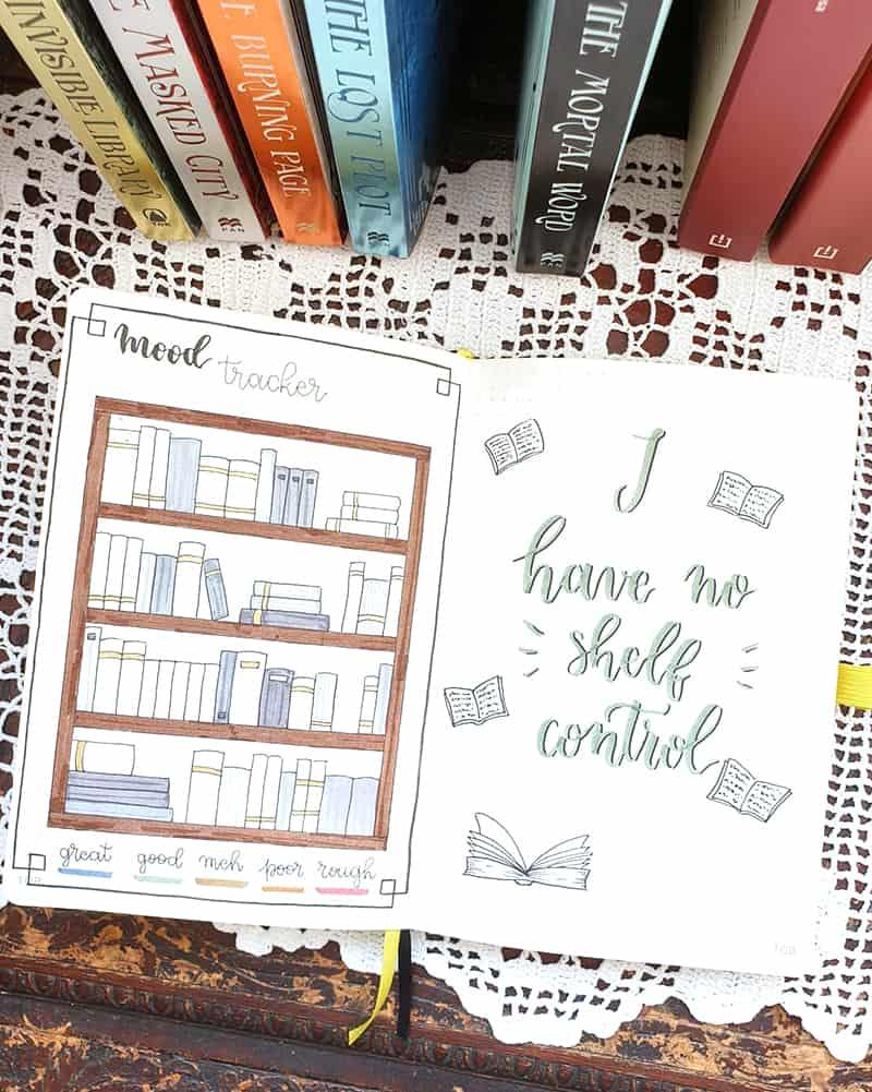 Books in a bookshelf bullet journal themes