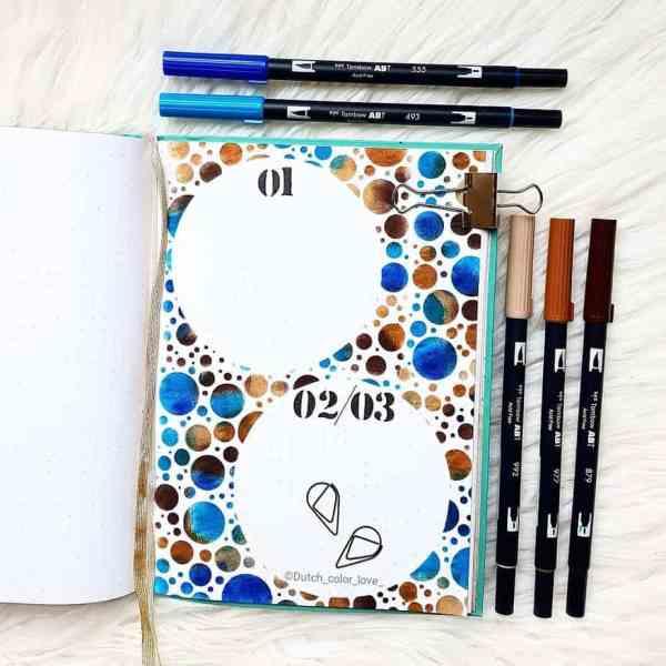 Tombow calendar bullet journal brush pens