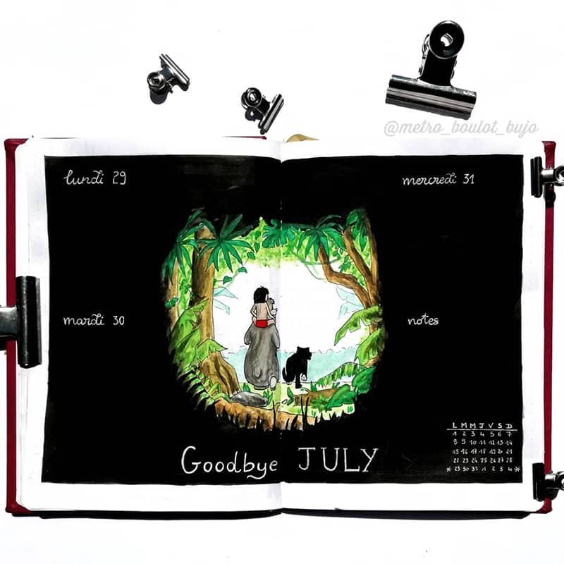 Jungle book cover for July bujo