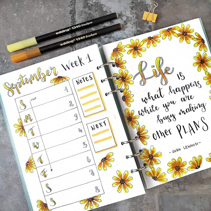 fall flowers September weekly spread